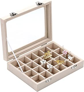 Ivosmart 24 Section Velvet Glass Jewelry Ring Display Organiser Box Tray Holder Earrings Storage Case (Beige)