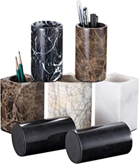 Top All Nature Marble Pencil Holder, Marble Pen Container, Marble Candle Jars, Square Ice Flower White