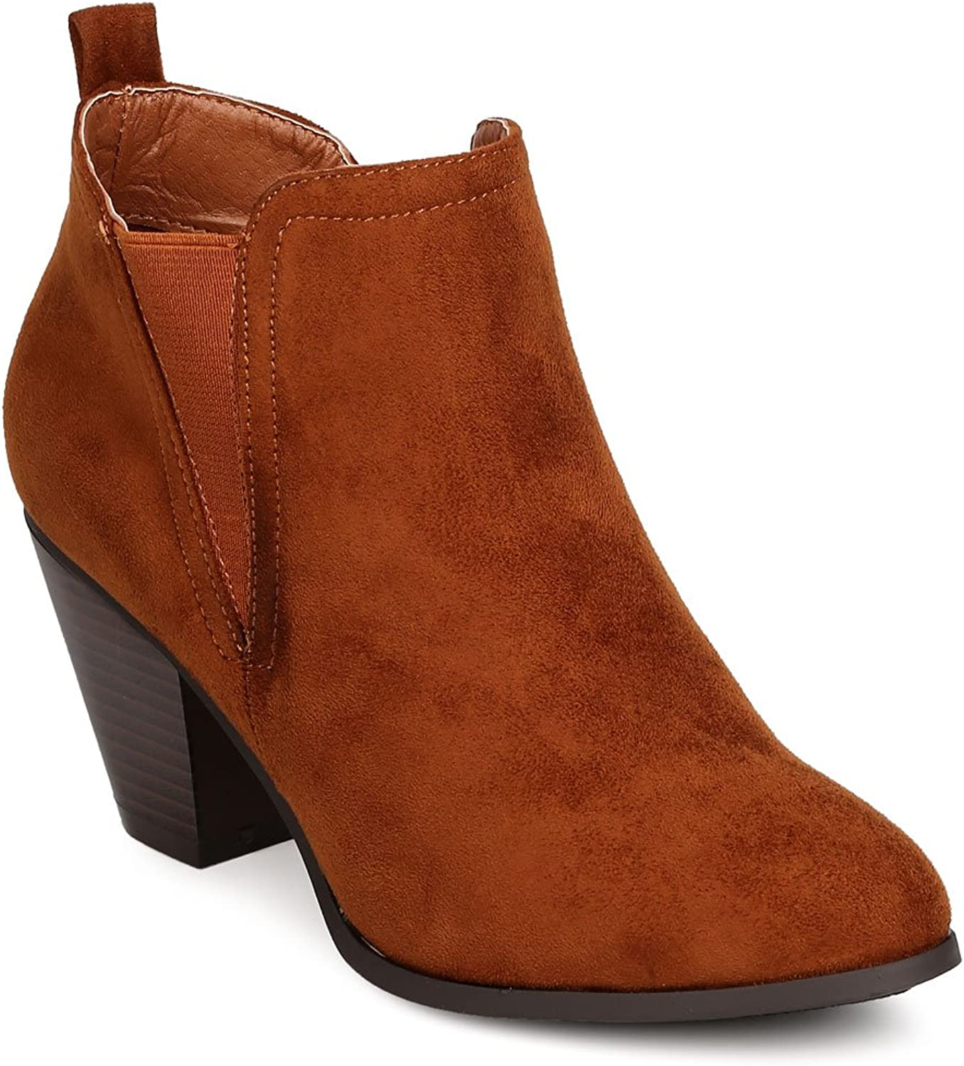 Nature Breeze Women Faux Suede Almond Toe Chelsea Chunky Heel Bootie FE22 - Tan