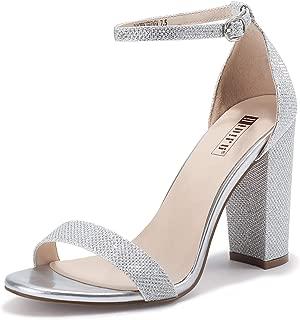 silver block heel sandal