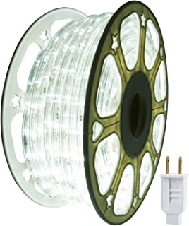 Led Rope Lights Outdoor Waterproof Indoor 114ft 35m 1260LEDs Daylight White,Strip Light, Decorative String Lighting, Plug in 110V Connectable Cuttable Flexible 8A Fuse Holder Powered Mounting