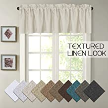 H.VERSAILTEX Thermal Insulated Rich Linen Curtain Valance for Living Room/Kitchen/Bedroom, Primitive Linen Valances Rod Pocket Matches with Panels - 52