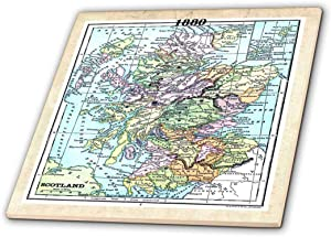 "3dRose ct_38897_2 1880 Map of Scotland & Ceramic Tile, 6"""