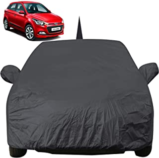 Autofact Car Body Cover for Hyundai Elite I20 with Mirror and Antenna Pocket (Light Weight, Triple Stitched, Heavy Buckle, Bottom Fully Elastic, Grey)