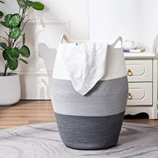 TECHMILLY Large Laundry Hamper Tall Woven Rope Basket Grey Modern Dirty Basket (99L) in Dorm, Bathroom, Bedroom, Closet fo...