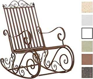 CLP Mecedora De Hierro Smilla I Mecedora Relax De Jardín I Mecedora De Exterior En Estilo Rústico I Sillón Mecedora De Balcón o Terraza I Color: Marrón