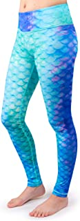 Fin Fun Girls and Kids Mermaid Athletic Leggings for Running and Swimming