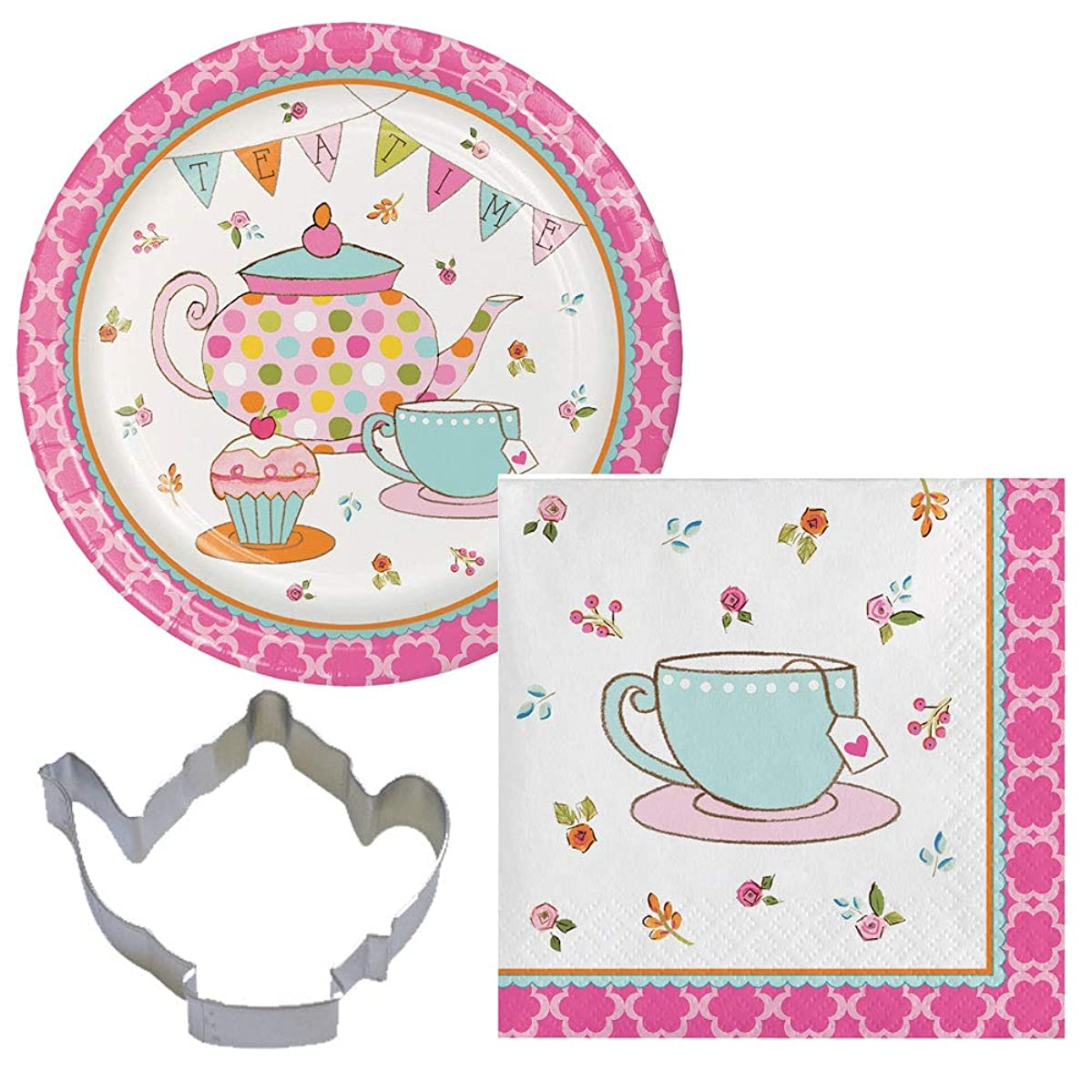 Tea Time Party Supplies for 16 Guests: 16 Plates, 16 Napkins & Cookie Cutter with Cookie Recipe Bundle