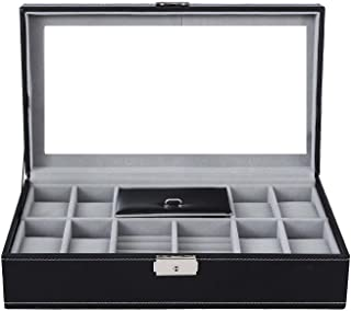 Leather Watch Box Black Display case Storage Australia Mens Jewellery Box