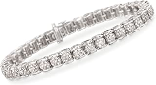 Ross-Simons 2.00-2.15 ct. t.w. Diamond Cluster Tennis Bracelet in Sterling Silver
