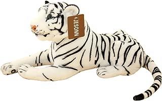 JESONN Realistic Stuffed Animals Tiger Toys Plush (White, 13.5 Inch)