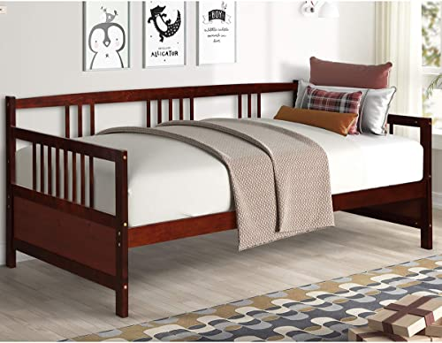 2021 Giantex Wooden Daybed Frame Twin Size, Full Wooden Slats new arrival Support, Dual-use Sturdy Sofa Bed for Bedroom Living outlet sale Room (Espresso) sale