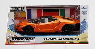 NEW 1/24 W/B JADA TOYS COLLECTION - Hyper-Spec - Orange Lamborghini Centenario Diecast Model Car By Jada Toys