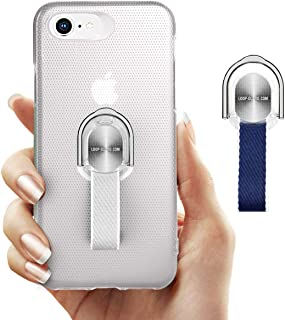 iPhone 8/ iPhone 7 Case with Finger Grip & Ring Stand Holder, Thin Protective Hard White Cover with Blue & Gray Strap Loops for Apple iPhone 8/ 7, Support Magnetic Car Mount and Wireless Charging