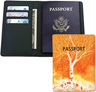 Leather passport holder - Murky Original Hand Drawn ing with Birches and Rain Drops Hazy Habitat- Credit card,passport,ID card protection.Travel essentials.