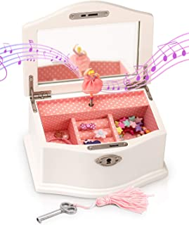 Elle Jewelry Box - Ballerina Jewelry Organizer and Swan Lake Wind-Up Music Box for Girls and Teens, Accessories and Keepsa...