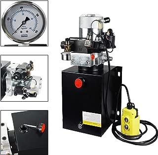 ECO LLC 10 Quart Double Acting 12V Hydraulic Power Unit 3200 PSI Max. Hydraulic Pump DC 12V Dump Trailer with Hydraulic Pressure Gauge