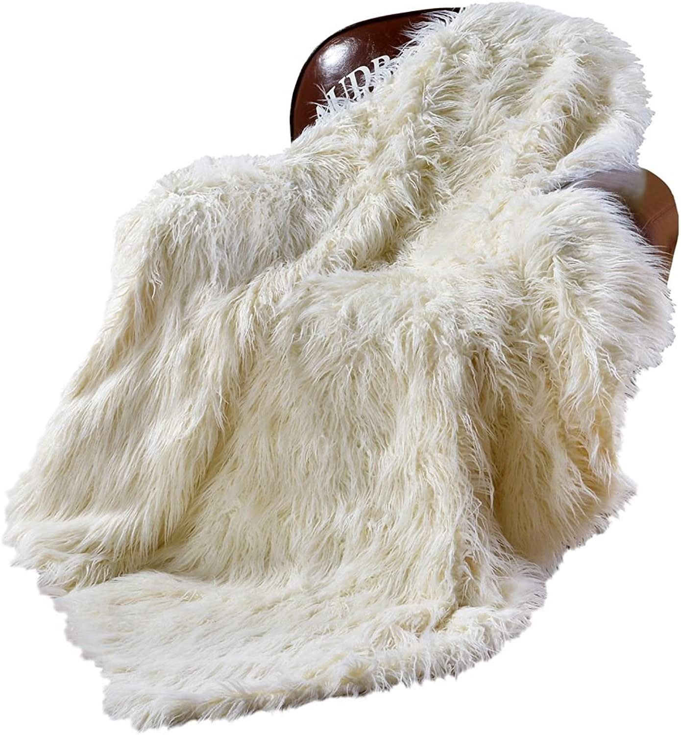 "DECOSY Ultra Soft Faux Fur Fuzzy Blanket 50""x 60"" - Long Pile Yarn Acrylic Sofa TV Blanket - Shaggy Mongolia Couch Blanket - Puffy Reversible Chair Blanket Ivory White"