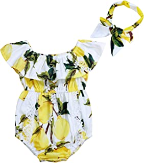 Yoveme Infant Baby Girl Clothes Cute Floral Print Ruffles Romper Summer Clothes + Headband