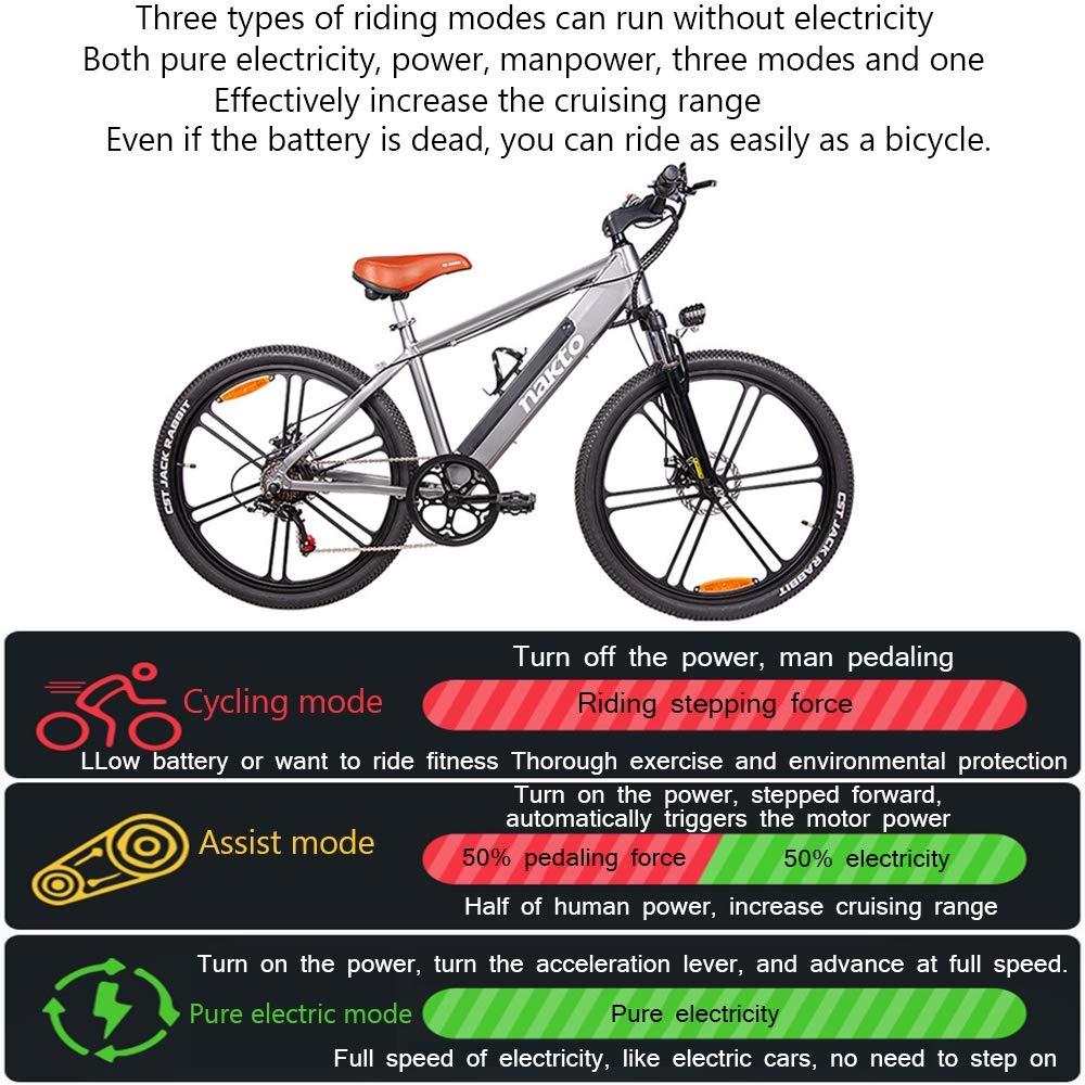 H&J Bicicleta eléctrica de Ciudad Bicicleta híbrida de Nieve para ...