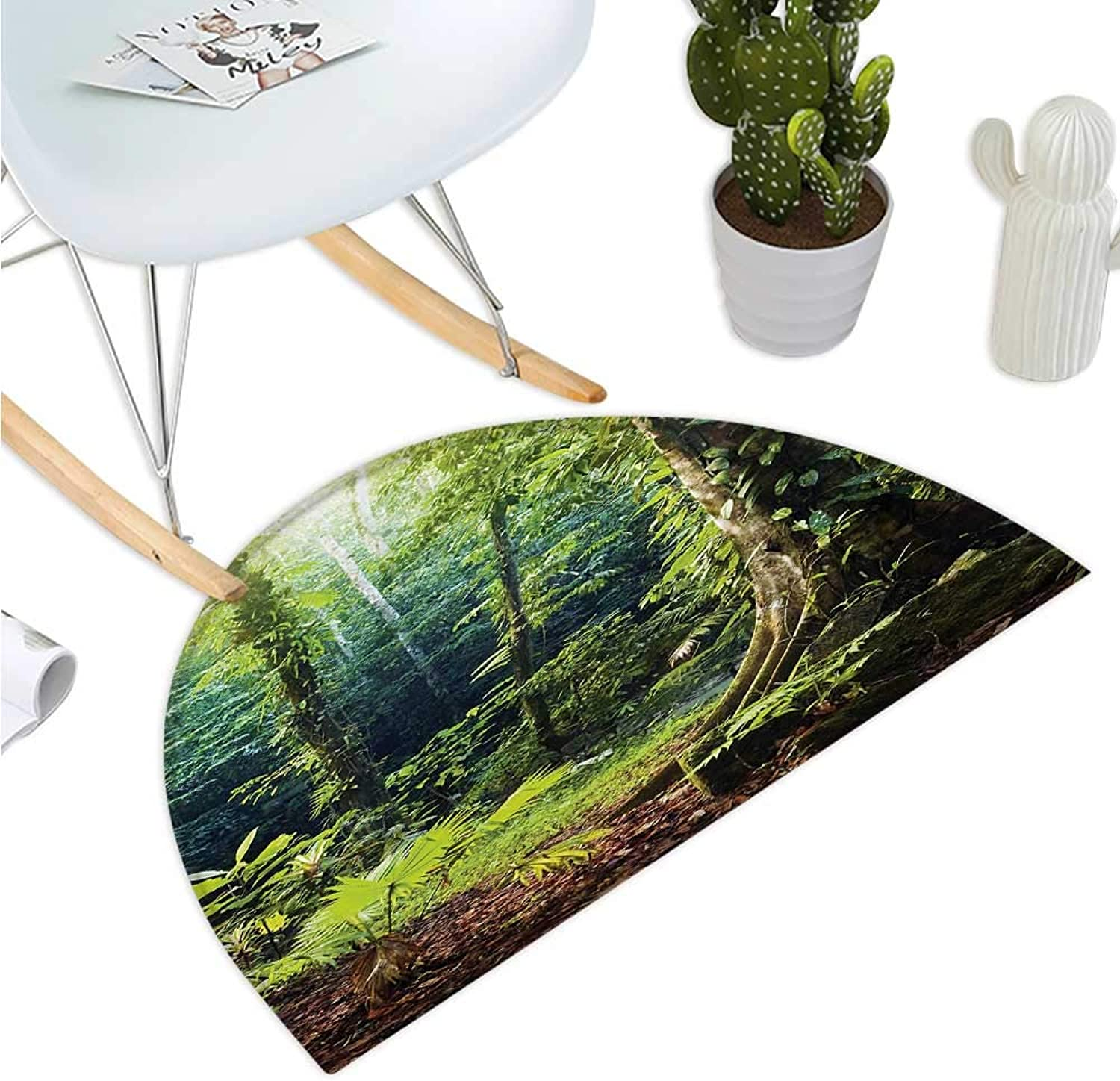 Rainforest Half Round Door mats Morning Sunbeam Through Wild Forest Ivy on Trees Tranquility in Nature Eco Bathroom Mat H 43.3  xD 64.9  Green Brown