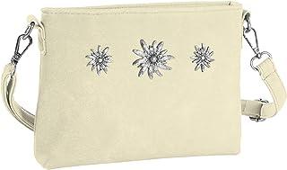 dressforfun 900651 Damen Trachten Handtasche mit Edelweiß Motiv, Schicke Trachtenhandtasche in Wildlederoptik (Beige   Nr....