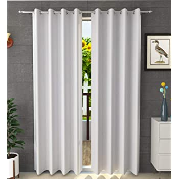 Kiara Creations 1 Piece Room Darkening Thermal Insulated Blackout Curtains for Window 5 Feet, White (White, 5 Feet (1Pc))