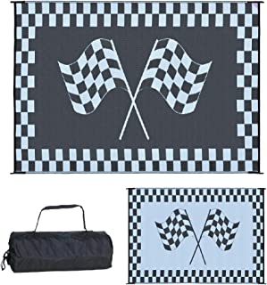 (9'x12') - Ming's Mark Reversible Black & White Racing Flag Mat