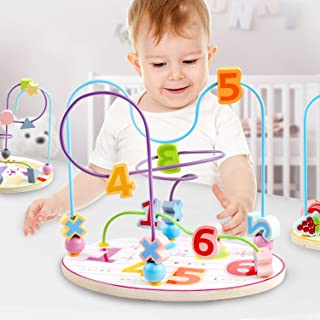 QZM Number Bead Maze Toy to Toddlers Wooden Roller Coaster Educational Circle Toys for Kids Sliding Beads Game On Twists Wire Early Development Toys Gift for Baby Age 1 2 3