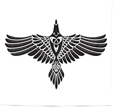 Lunarable Raven Tapestry Queen Size, Norse Theme Bird in Celtic Design Monochrome Style Illustration Print, Wall Hanging Bedspread Bed Cover Wall Decor, 88