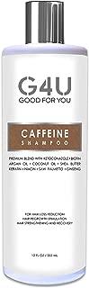 G4U Caffeine Shampoo for Hair Loss Prevention, Hair Growth Stimulation, Thinning Hair and Anti Dandruff in Men and Women. Unique blend of Caffeine Saw Palmetto Biotin Keratin Niacin & Argan Oil, 12 oz