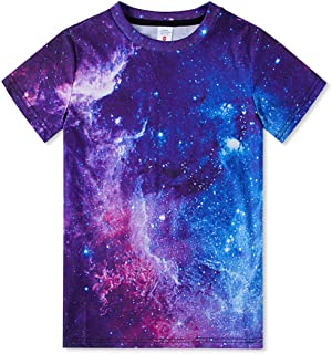 uideazone Boys 3D Graphic Printed T-Shirt Crewneck Short Sleeve Tees 6-16 Years