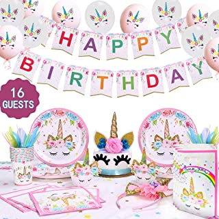 GONGYIHONG Unicorn Birthday Party Supplies Set, Serves 16, Colorful