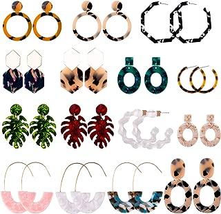 15 Pairs Acrylic Earrings Resin Drop Dangle Statement Earrings Polygonal Bohemian Earrings for Women Girls