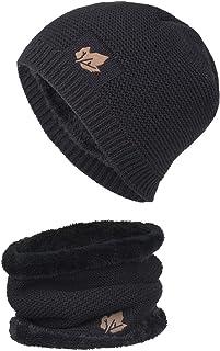 Boomly Hombres Sombrero de punto + Bufanda Beanie Gorro Calentador de cuello Impresión de hojas Sombrero de invierno conju...