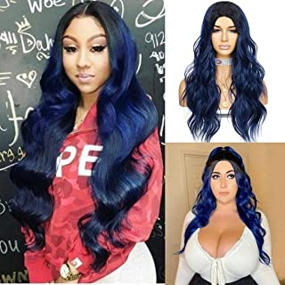 Sapphirewigs Ombre Wavy Wig Dark to Blue Color Hair High Density Heat Resistant Synthetic Hair Weave Full Wigs Cosplay for...