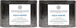 Chesapeake Bay Candle Tin with Double Wick Scented Candles, Aqua Marine (Waterlily Seagrass), (2-Pack)