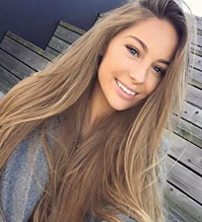 Zenith Summer Style Flawless Hairline Brown Root #27 Ombre Light Brown Lace Front Wigs Synthetic Hair Front Lace Wig for A...
