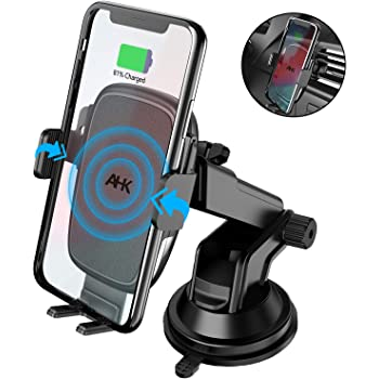 Samsung Galaxy S10+//S9+//S8+ Air Vent Windshield Dashboard Phone Holder for iPhone Xs MAX//XR//X//8+ Wireless Car Charger Charvoxrt Auto Clamping Car Charger Mount with 7.5W//10W QI Fast Charging