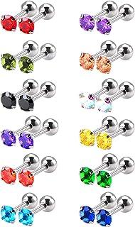 12 Paia 18 Gauge Orecchino a Bottone in Acciaio Inox Cubico Zirconi Spirale Orecchini, 12 Colori