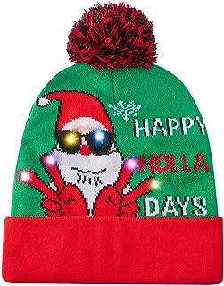 Stylish Unisex LED Light-Up Christmas Hat with 6 Colorful Lights Santa Sweater Beanie Funny Xmas Knit Cap