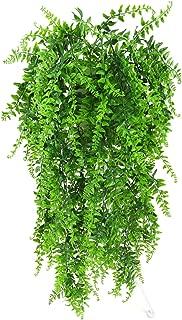 Lanldc 2 pcs Faux Hanging Boston Ferns Vine Fern Persian Rattan Fake Hanging Plant for DIY Wall Home Garden Hanging Basket Decor