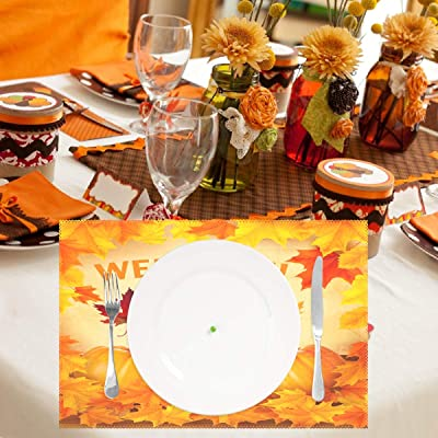 Sunlightfree Placemats Set of 4 Colorful Flowers Table Place Mats Cotton Linen Rectangular Placemat for Dinning Table