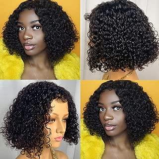 Glueless Curly Human Hair Bob Wigs Short Machine Made Non Lace Kinky Curly Wavy Human Hair Bob Wigs for Black Women (12 inch)