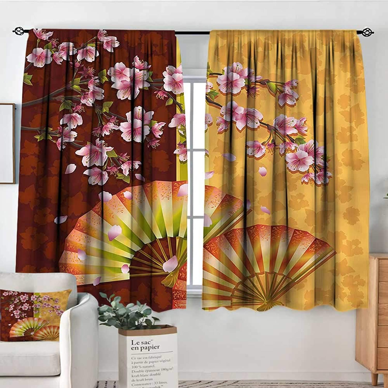 RenteriaDecor Floral,Bocking Ight Rod Curtains Sakura Blossoms Asian 42 X72  for Baby Bedroom