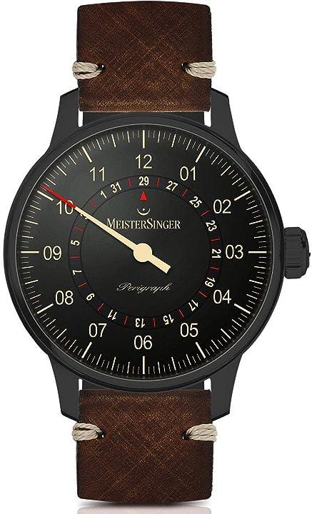 Orologio meistersinger am1002bl analogico automatico da uomo con cinturino in pelle marrone cassa in acciaio
