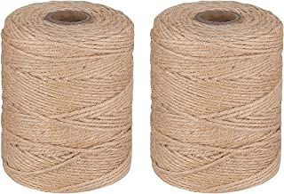 STOBOK 985 Feet Natural Jute Twine 2 Pack,4 Ply 3mm Arts and Crafts Jute Rope, Heavy Duty Packing String Christmas Gift Tw...