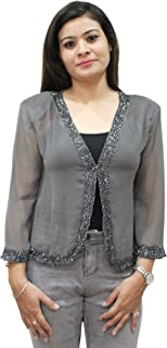 Matelco Women's Georgette Embroidred Short Shrug Jacket (A-30-Ad06Jbk041Wn_Wine)