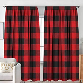Window Curtains Plaid,Lumberjack Fashion Buffalo Style Checks Pattern Retro Style with Grid Composition, Scarlet Black,for Room Darkening Panels for Living Room, Bedroom 54