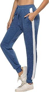 Pantalones Deportivos para Mujer,Pantalones de chándal con Rayas Laterales Pantalones Largos con Cintura Elástica con Cordón Suaves y Ligeros con Bolsillo